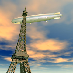 Eiffelturm mit Luftschiff