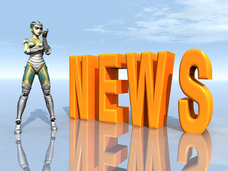 Female Robot with the word NEWS