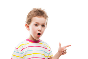 Child boy gesturing or finger pointing