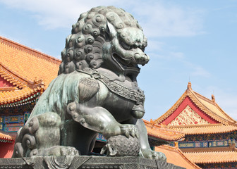 Bronze lion statue in Forbidden City, Beijing, China