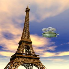Eiffelturm mit Fantasie Luftschiff