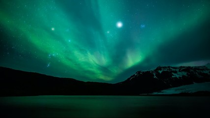 Wall Mural - Northern lights (Aurora borealis) over the lake, Iceland
