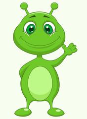 Poster de jardin Creatures Cute green alien cartoon
