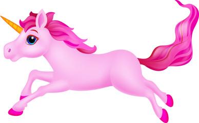 Cute unicorn cartoon running