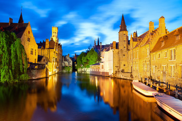 Foto op Canvas Brugge Famous view of Bruges at night