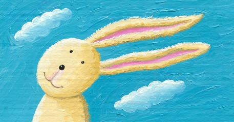 Ilustracja Akwarela Śliczny królik na wietrze