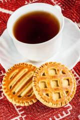 biscuits with cheese and teacup