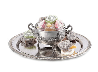 Turkish delight in a traditional metal container..