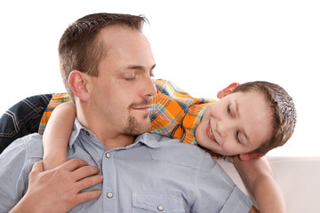 Vater und Sohn isoliert