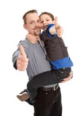 Vater und Sohn isoliert mit Daumen hoch