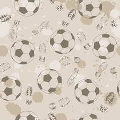 Grunge seamless background with footprint and soccer ball.