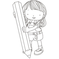 coloring illustration of a girl with pencil