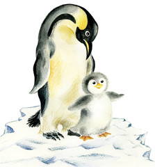 Illustration of cute penguins: mother and baby