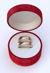 Wedding rings in red jewel box
