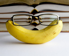 A pair of glasses on a banana