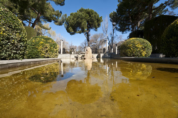 Small pond in Retiro Park, Madrid, Spain