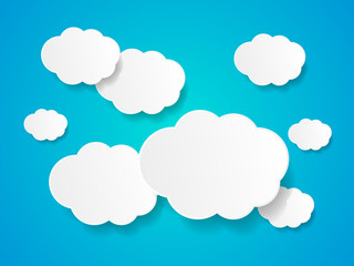 White paper clouds background with place for text