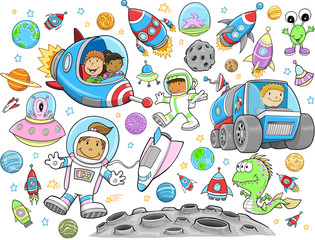 Poster Cartoon draw Cute Outer Space Vector Illustration Design Set
