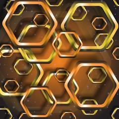 золотые и бронзовые многоугольники на коричневом  фоне