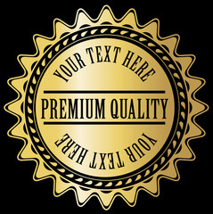 Gold label with example text
