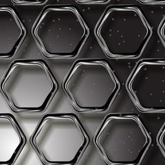 серебрянные шестиугольники на сером фоне