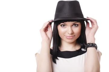 beautiful brunette bortrait with black hat