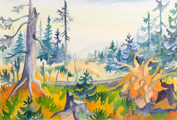 colorful forest trees - original painting water color on paper