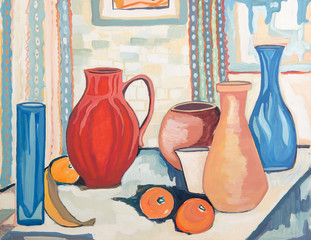 colorful still life - original painting oil on wood