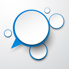 Paper white-blue round speech bubbles.