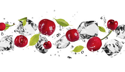 Foto op Plexiglas In het ijs Ice fruit on white background