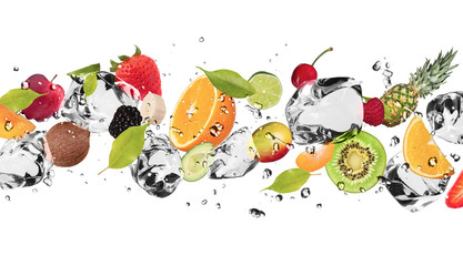 Wall Murals In the ice Ice fruit on white background