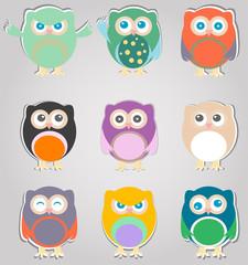 set of cute owls