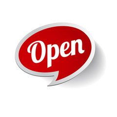 Open Sign - Illustration of red sign