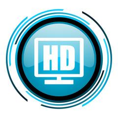 hd display blue circle glossy icon
