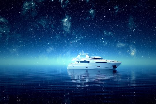 Yacht on the sea at night.