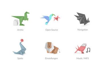 Abstrakte Origami Polygon Icons für Apps und Software