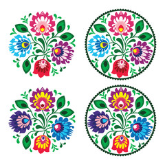 Ethnic round embroidery with flowers - traditional polish