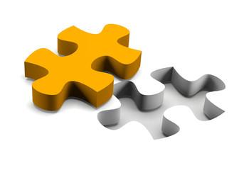 Orange puzzle piece solution concept