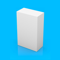White blank box on blue background