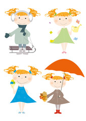Smiling little girl and all seasons- set of different clothes
