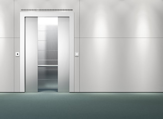 Interior scene of an open elevator