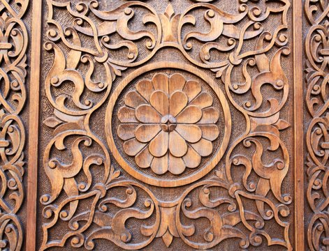 Detail of old engraved wooden