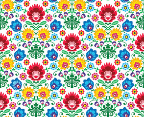 Seamless floral polish pattern - ethnic background
