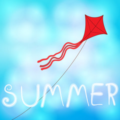 Summer sky with kite illustration