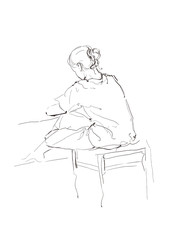 Sketch of a sitting girl