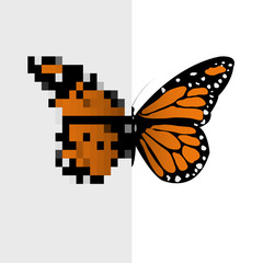 Poster Pixel Vector Pixel Art Butterfly
