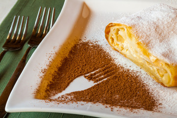 strudel with cottage cheese with a cocoa fork pattern