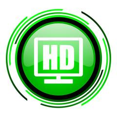 hd display green circle glossy icon
