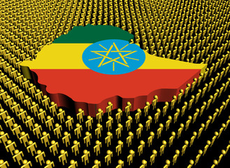 Ethiopia map flag with many abstract people illustration
