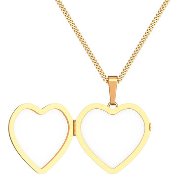 Gold heart shaped locket on chain isolated on white